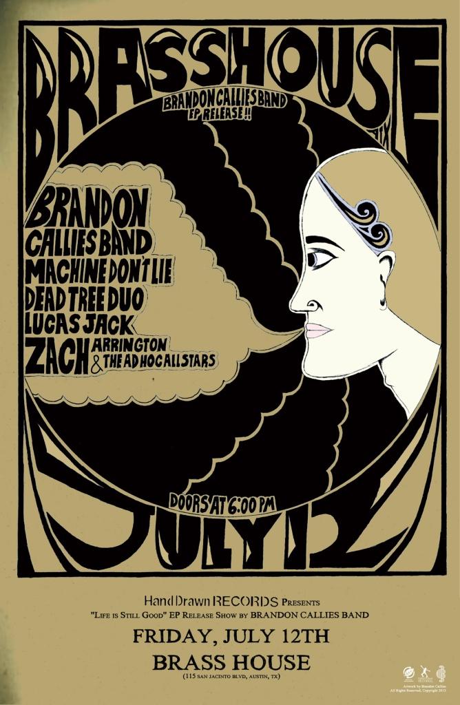 FRIDAY, JULY 12TH: BRASS HOUSE (Austin, TX) - Brandon Callies Band CD Release Show